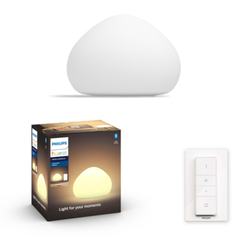 Philips Hue Wellner tafellamp 1x9.5w mat glas incl. switch en bluetooth