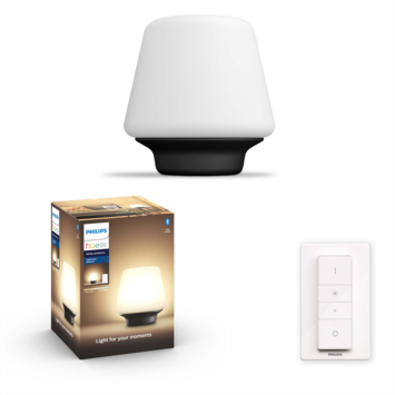 Philips Hue Wellness tafellamp 1x9.5W zwart/mat glas incl. switch en bluetooth