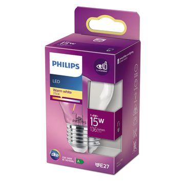 Philips LED kogel E27 15W filament helder niet dimbaar