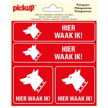 Pickup pictogram 15x15 cm hier waak ik ! 4 stuks