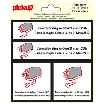 Pickup pictogram 15x15 cm camerabewaking 4 stuks