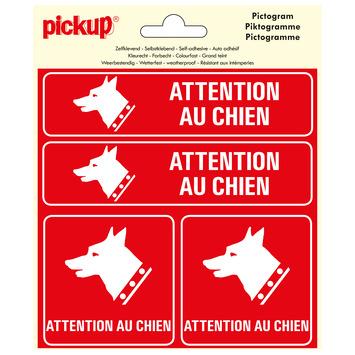 Pickup pictogram 15x15 cm attention chien 4 stuks