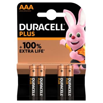 Duracell Plus alkalinebatterij AAA 4 stuks