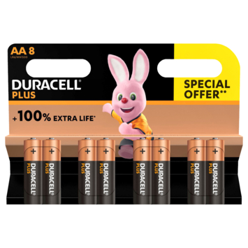 Duracell Plus alkalinebatterij AA 8 stuks promopack