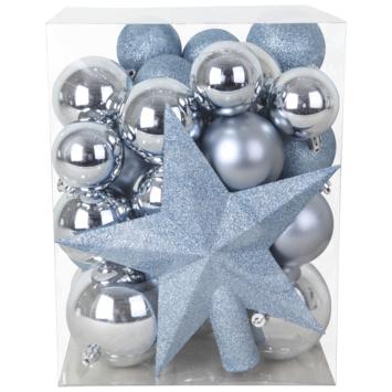 Kerstballenmix plastic winterblauw met piek 33 stuks