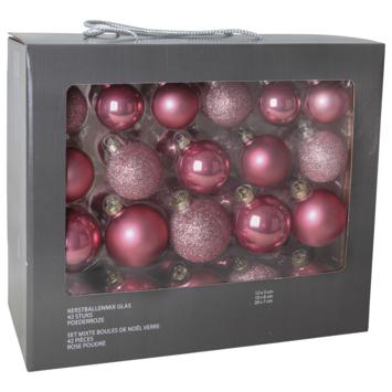 Kerstballenmix glas 42 st poederroze
