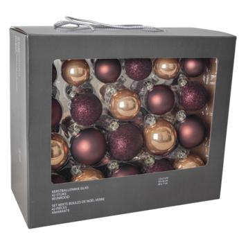 Kerstballenmix glas 42 st chocoladebruin