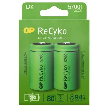 GP oplaadbare NiMH D mono-batterijen Recyko 5700 mAh 2 stuks