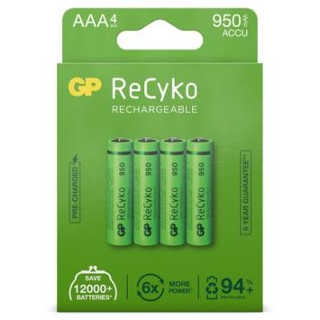 GP oplaadbare NiMH AAA-batterijen Recyko 950 mAh 4 stuks