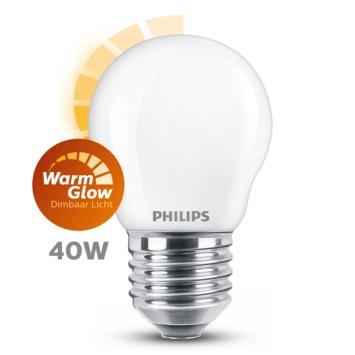 Philips LED kogel E27 40W mat warmglow dimbaar