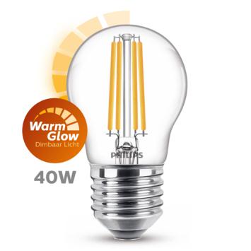 Philips LED kogel E27 40W filament helder warmglow dimbaar
