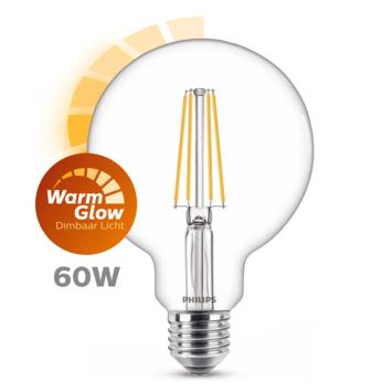 Philips LED globe E27 60W filament helder warmglow dimbaar