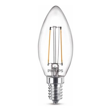 Philips LED kaars E14 15W filament helder niet dimbaar