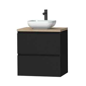 Tiger Karlo badkamermeubel 60 cm Mat Zwart met eiken wasblad en keramische waskom