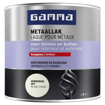 GAMMA metaallak hoogglans 250 ml RAL 9010 gebroken wit