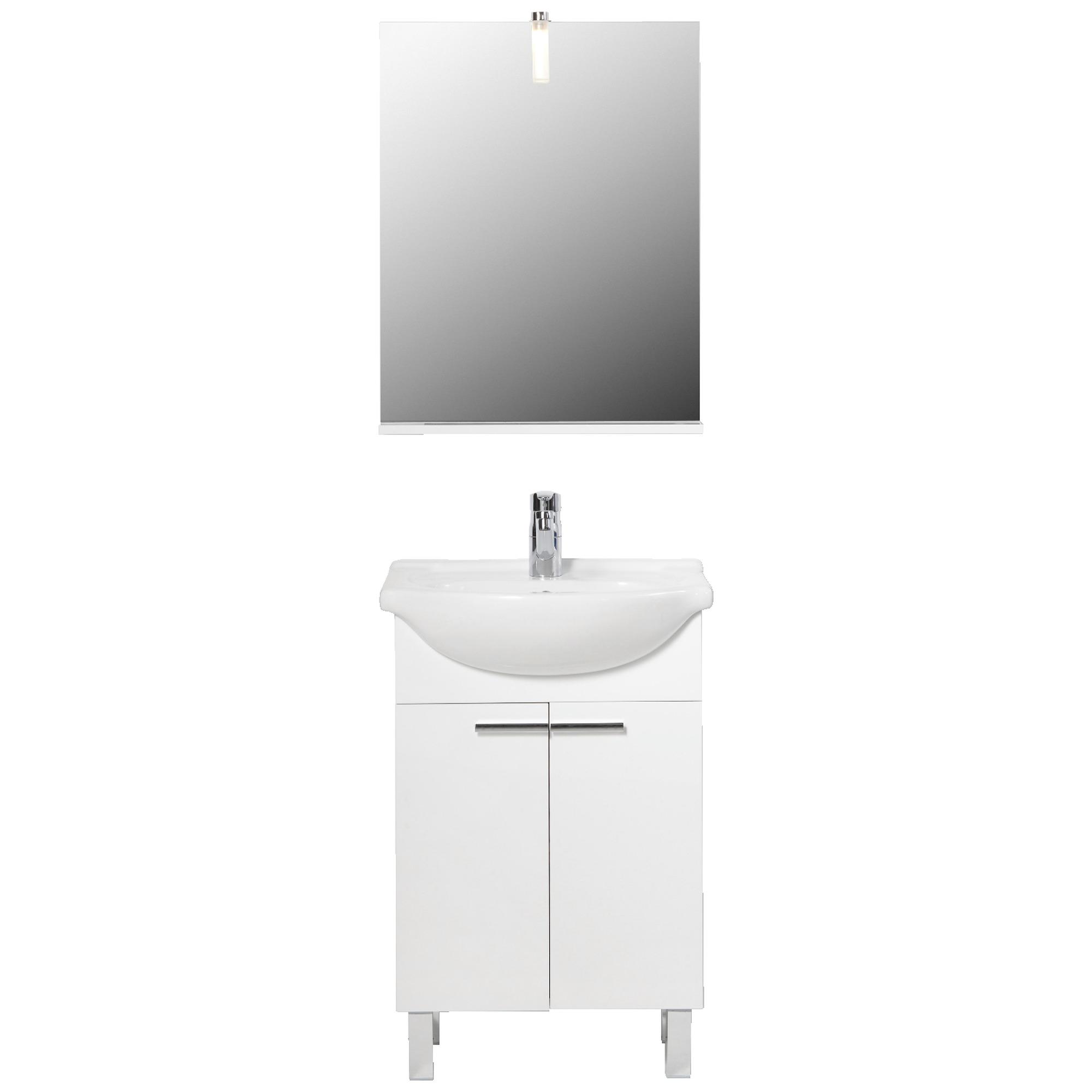 Meuble de salle de bains amy 55 cm blanc brillant for Meuble sanitaire