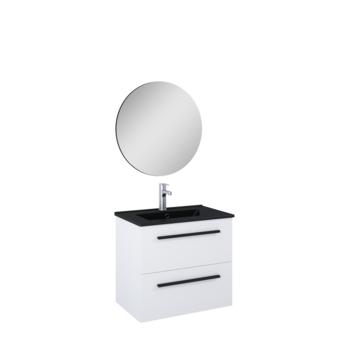 Atlantic badmeubelset Stella met spiegel en zwarte wastafel 60 cm mat wit