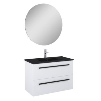 Atlantic badmeubelset Stella met spiegel en zwarte wastafel 80 cm mat wit