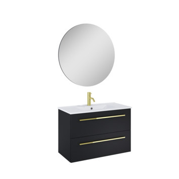 Atlantic badmeubelset Stella metspiegel en witte wastafel 80 cm mat zwart