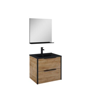 Atlantic badmeubelset Ariamet spiegel en zwarte wastafel 60cm Canela Eiken