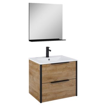 Atlantic badmeubelset Ariamet spiegel en wtte wastafel 60cm Canela Eiken