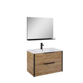 Atlantic badmeubelset Ariamet spiegel en wtte wastafel 80cm Canela Eiken