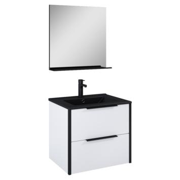 Atlantic badmeubelset Ariamet spiegel en zwarte wastafel 60 cm mat wit