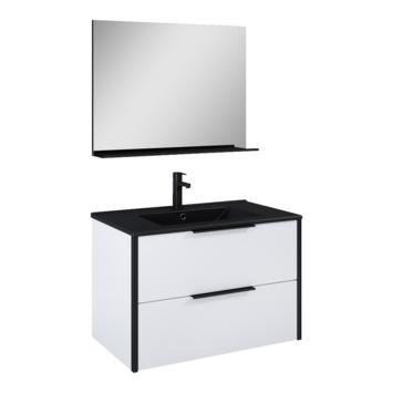 Atlantic badmeubelset Ariamet spiegel en zwarte wastafel 80 cm mat wit