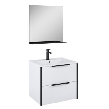 Atlantic badmeubelset Ariamet spiegel en wittewastafel 60cm Mat Wit