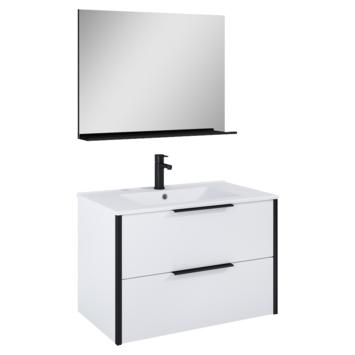 Atlantic badmeubelset Ariamet spiegel en wittewastafel 80cm Mat Wit