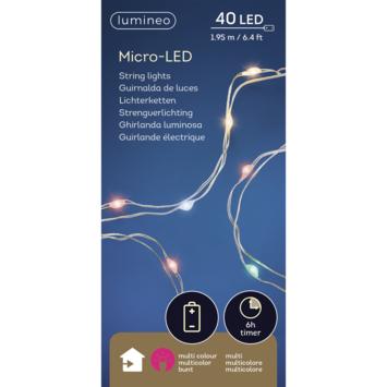 Kerstverlichting zilverdraad 40 LED multicolor