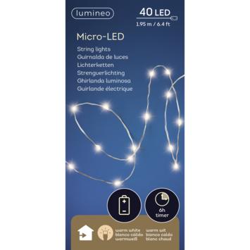Kerstverlichting zilverdraad 40 LED warm wit