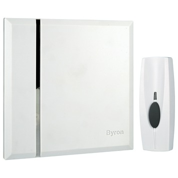 Byron draadloze deurbelen drukknop BY401W wit - bereik 60 m