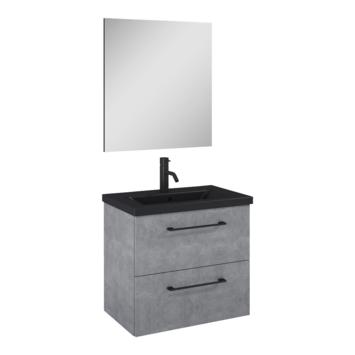 Atlantic badmeubelset Sienna met spiegel en zwarte wastafel 60cm beton