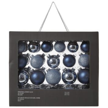 Kerstballenmix glas 42 stuks blauw