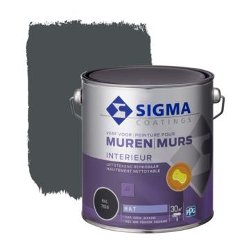 Sigma muurverf reinigbaar mat RAL 7016 2,5 liter