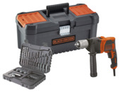 Perceuse à percussion Black & Decker BEH850KA32-QS 850W en boîte à outils avec 32 accessoires