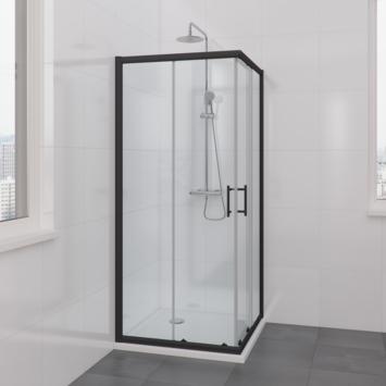 Bruynzeel Lino hoekinstap 90x195 cm zwart