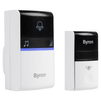 Byron draadloze deurbel plug-in - geen batterijen nodig dankzij kinetische drukknop DBY-23412 bereik 100 m