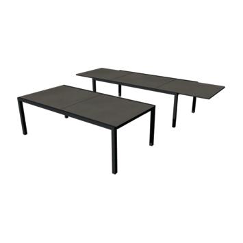 Tafel Luxury cement antraciet 2200/3400x1080 mm met onderstel in zwart