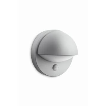 Philips wandlamp June met bewegingsmelder en spaarlamp E27 12W 741 lumen grijs
