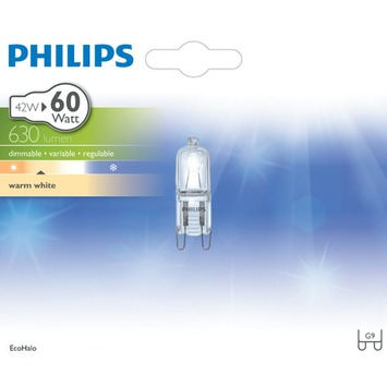 Philips ecohalogeen steeklamp G9 630 lumen 42W = 60W