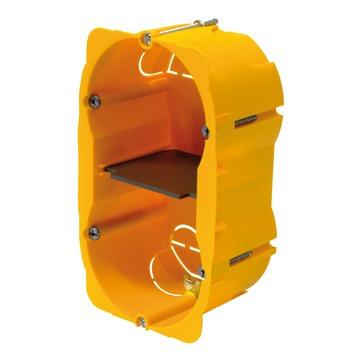 Boîtier d'encastrement mur creux double vertical Batibox Legrand 57 mm jaune