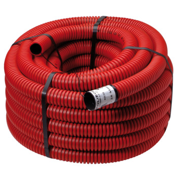 Geringde buis met trekdraad rood 40 mm, 25 m