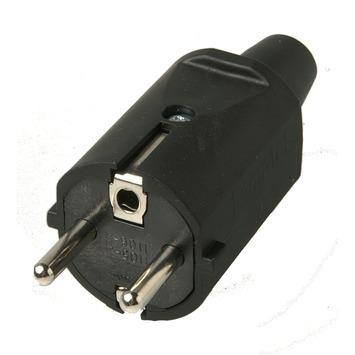 Profile stekker IP44 16 A zwart rubber