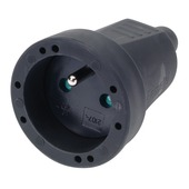 Profile tegenstekker 16 A zwart rubber