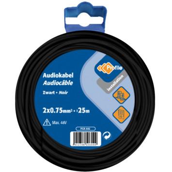 Profile audiokabel zwart 2x0,75 mm² - lengte 25 m