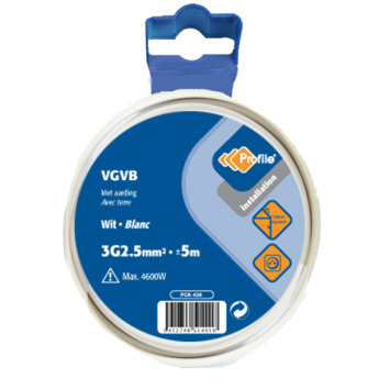 Profile VGVB-kabel wit 3g 2,5 mm² - lengte 5 m