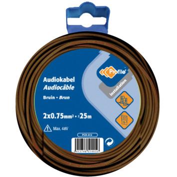 Profile audiokabel bruin 2x0,75 mm² - lengte 25 m