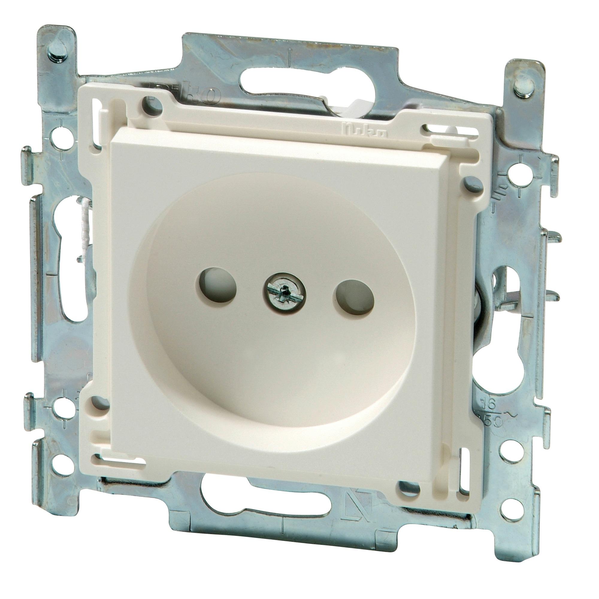 Niko stopcontact 2 polig zonder aarding 21 mm wit   Stopcontacten   Schakelmateriaal   Elektra